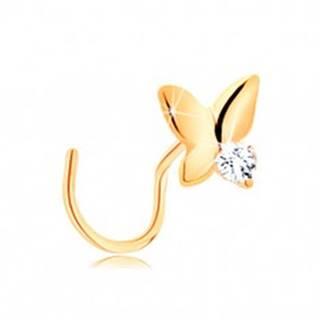 Piercing do nosa v žltom 14K zlate - malý motýľ s čírym zirkónom