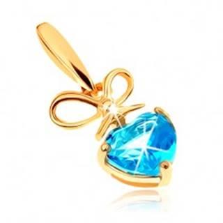 Zlatý prívesok 375 - mašlička a srdiečkový topás v modrom odtieni GG63.33