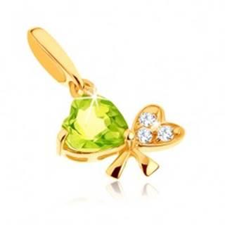 Zlatý prívesok 585 - mašľa z dvoch srdiečok, svetlozelený olivín, číre zirkóniky GG90.22