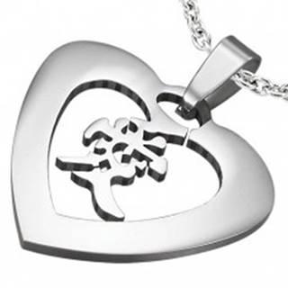 Prívesok oceľové srdce s čínskym znakom W23.12