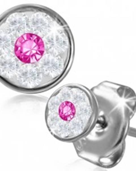 Oceľové náušnice - kvietok so Swarovski® komponentmi, ružový zirkón, 5 mm