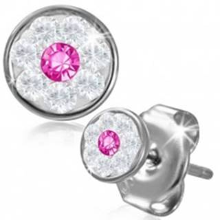 Oceľové náušnice - kvietok so Swarovski® komponentmi, ružový zirkón, 5 mm AA39.26