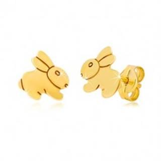 Náušnice zo žltého 9K zlata - zrkadlovolesklý skákajúci zajačik GG39.01