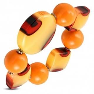 Pružný náramok - oranžové guľôčky, mliečne sklo s oranžovým nádychom, očká SP94.20