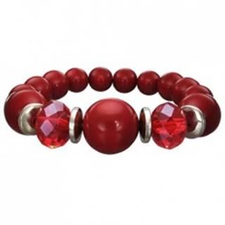 Strečový náramok bordovej farby - guličky rôznej veľkosti, brúsené červené korálky SP94.16