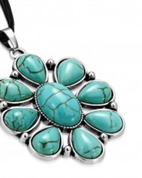 Čierny šnúrkový náhrdelník - ozdobný kvet s tyrkysovými kameňmi, slzy