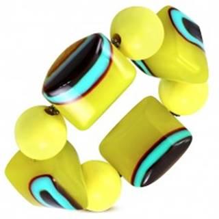 Rozťahovací náramok - žlté guličky, korálky z mliečneho skla, tyrkysovo-hnedé očká