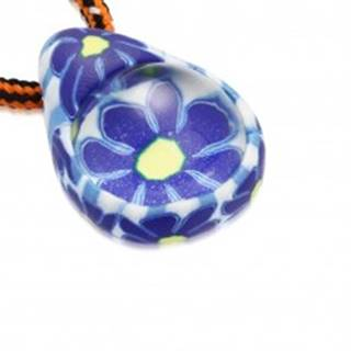 Šnúrkový náhrdelník - FIMO slza s modrými kvietkami, sklenená guľôčka