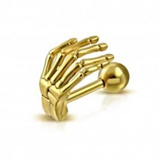 Oceľový piercing do ucha alebo obočia - kostra ruky v lesklom zlatom odtieni