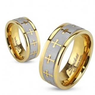 Prsteň z ocele zlatej farby, saténový pás striebornej farby, jetelové kríže - Veľkosť: 49 mm