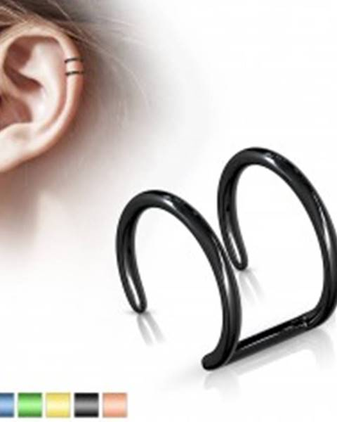 Falošný piercing do ucha z ocele 316L - anodizovaný dvojitý krúžok - Farba piercing: Čierna