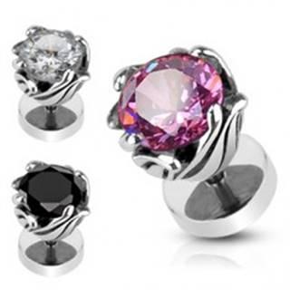 Falošný piercing z ocele - obruč z lístkov, zirkón - Farba zirkónu: Čierna - K