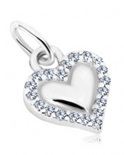 Prívesok, striebro 925 - lesklé srdce, obrys z transparentných zirkónov