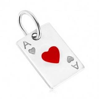 Prívesok zo striebra 925 - motív hracej karty, srdcové eso a červená glazúra