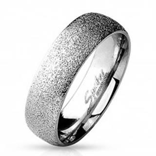 Prsteň z chirurgickej ocele s pieskovaným povrchom, strieborná farba, 6 mm - Veľkosť: 49 mm