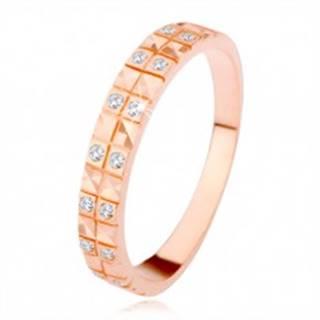 Strieborný 925 prsteň v medenom odtieni, diamantový rez, číre zirkóny - Veľkosť: 49 mm