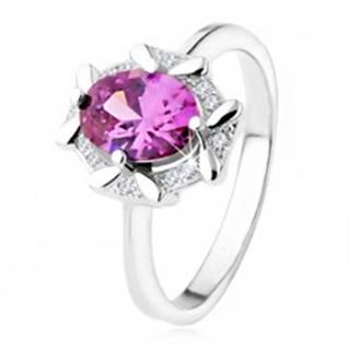 Zásnubný prsteň zo striebra 925, oválny fialový kamienok, zirkónový lem - Veľkosť: 48 mm