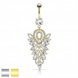 Oceľový piercing do bruška, veľký list zo zrnkových čírych zirkónov R45.31 - Farba piercing: Strieborná