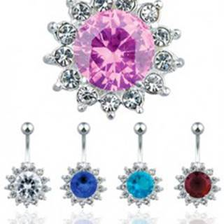 Oceľový piercing do pupku, farebný zirkónový kvet S70.16/19 - Farba zirkónu: Aqua modrá - Q