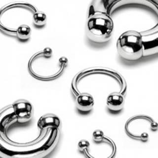 Polkruhový piercing z chirurgickej ocele, guličky - Rozmer: 1,2 mm x 10 mm x 4 mm