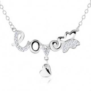 """Nastaviteľný náhrdelník, nápis """"love"""", motýlik, visiace srdiečko, striebro 925 SP60.07"""