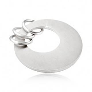 Prívesok z chirurgickej ocele - plochý kruh s okrúhlym výrezom, tri krúžky