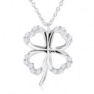 Strieborný náhrdelník 925 - obrys štvorlístka pre šťastie, číre zirkóny SP44.15