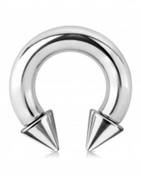 Piercing z ocele 316L - lesklá podkova s hrotmi, strieborná farba, hrúbka 6 mm - Rozmer: 6 mm x 12 mm x 9x9 mm