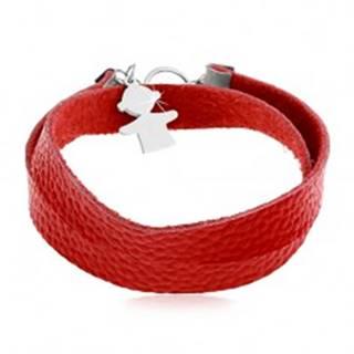 Červený náramok z umelej kože, prívesok a zapínanie v striebornej farbe