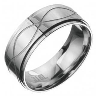 Oceľový prsteň - obrúčka s dvoma vlnkami - Veľkosť: 59 mm