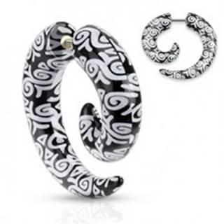 Falošný piercing do ucha z akrylu, čierna špirála, biele ornamenty