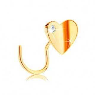 Zlatý piercing do nosa 585, zahnutý - lesklé zalomené srdiečko so zirkónom