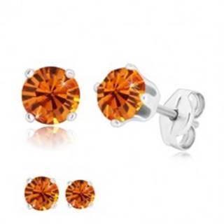 Strieborné náušnice 925 - okrúhly trblietavý zirkón v medovo oranžovom odtieni - Veľkosť zirkónu: 4 mm