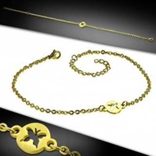 Oceľový náramok v zlatom farebnom prevedení - krúžok s výrezom motýľa AC23.28