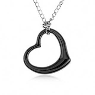 Oceľový náhrdelník, čierna keramická kontúra srdca, retiazka striebornej farby SP44.28