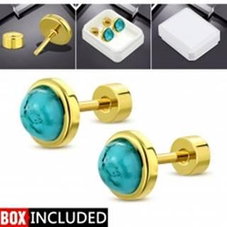 Šrubovacie náušnice zlatej farby, oceľ 316L, kruh s tyrkysovo modrým stredom