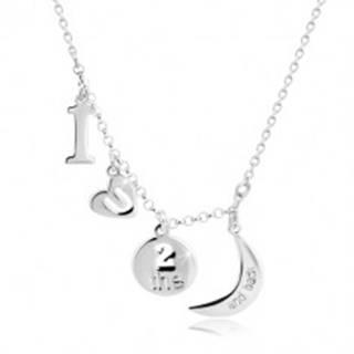 """Strieborný 925 náhrdelník - prívesky s motívom """"I love you to the moon and back"""""""