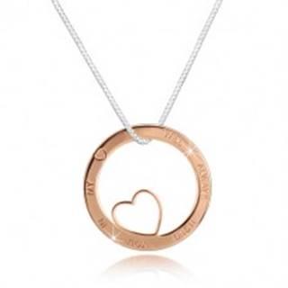 Strieborný náhrdelník 925 - hranatá retiazka, kruh ružovozlatej farby s výrezom a nápisom