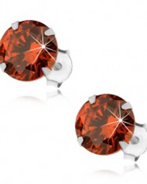 Strieborné 925 náušnice, okrúhly zirkón v oranžovom odtieni, 8 mm