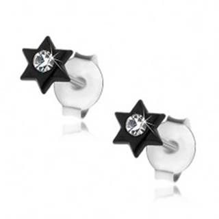 Puzetové náušnice, striebro 925, čierna lesklá hviezdička, krištálik čírej farby