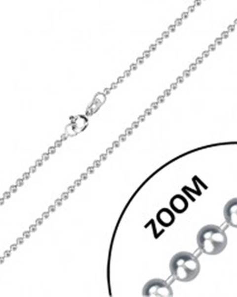Retiazka zo striebra 925 - lesklé guľôčky oddelené krátkymi paličkami, 2 mm