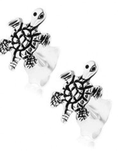 Náušnice zo striebra 925, gravírovaná korytnačka, patinovaný povrch