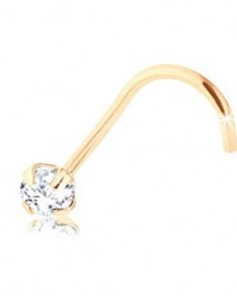 Briliantový piercing do nosa zo žltého 9K zlata, číry diamant, 2,5 mm