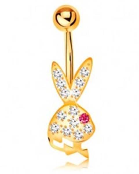 Piercing do brucha v žltom 14K zlate - trblietavá hlava zajačika s ružovým očkom