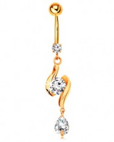Zlatý 585 piercing do pupku - dve lesklé vlnky so zirkónom v strede a slza