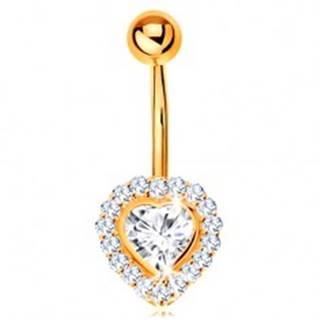 Piercing do bruška v žltom 14K zlate - číre zirkónové srdce lemované zirkónikmi GG185.32