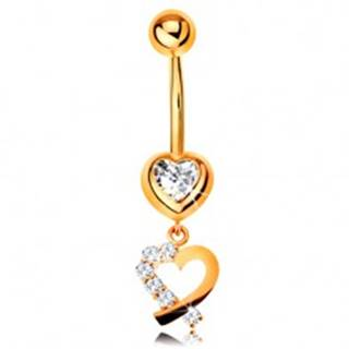 Zlatý 14K piercing do bruška - zirkónové srdce, obrys srdiečka s trblietavou polovicou