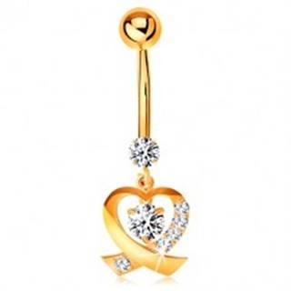 Zlatý 14K piercing do pupka - ligotavá kontúra srdiečka, okrúhle číre zirkóny