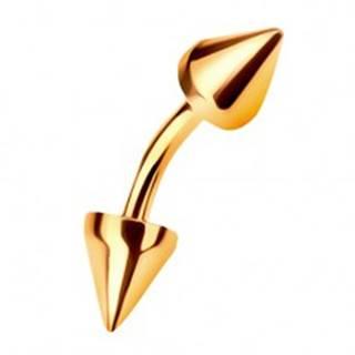 Zlatý piercing 585 - zahnutá činka ukončená dvoma kužeľovitými hrotmi, 6 mm