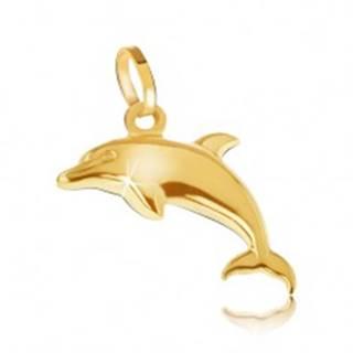 Prívesok zo žltého 14K zlata - ligotavý trojrozmerný skákajúci delfín
